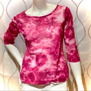 ☂️ Tie-dye pink mesh shirt, vintage 90s, sz Large
